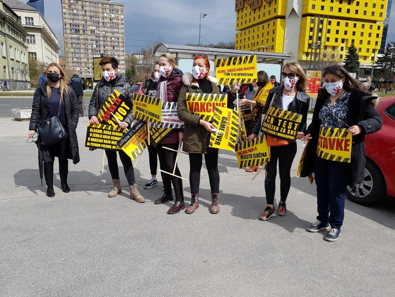 Protest u Sarajevu zbog vakcina i zdravstvene situacije